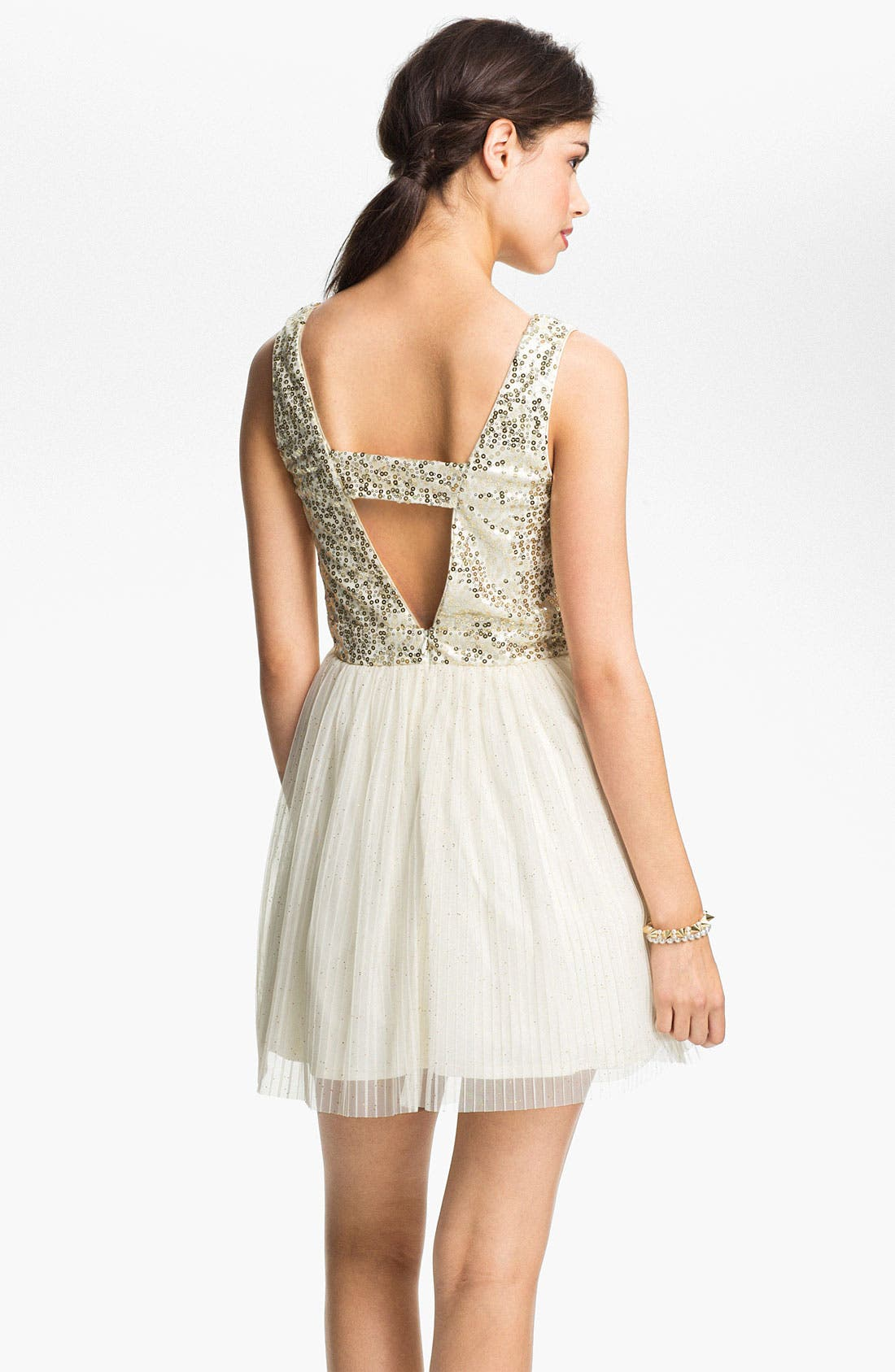 Alternate Image 2  - As U Wish Sequin Tulle Cutout Dress (Juniors)