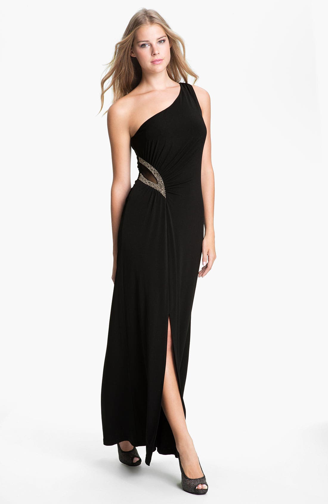 Alternate Image 1 Selected - Calvin Klein One Shoulder Mesh Inset Jersey Gown