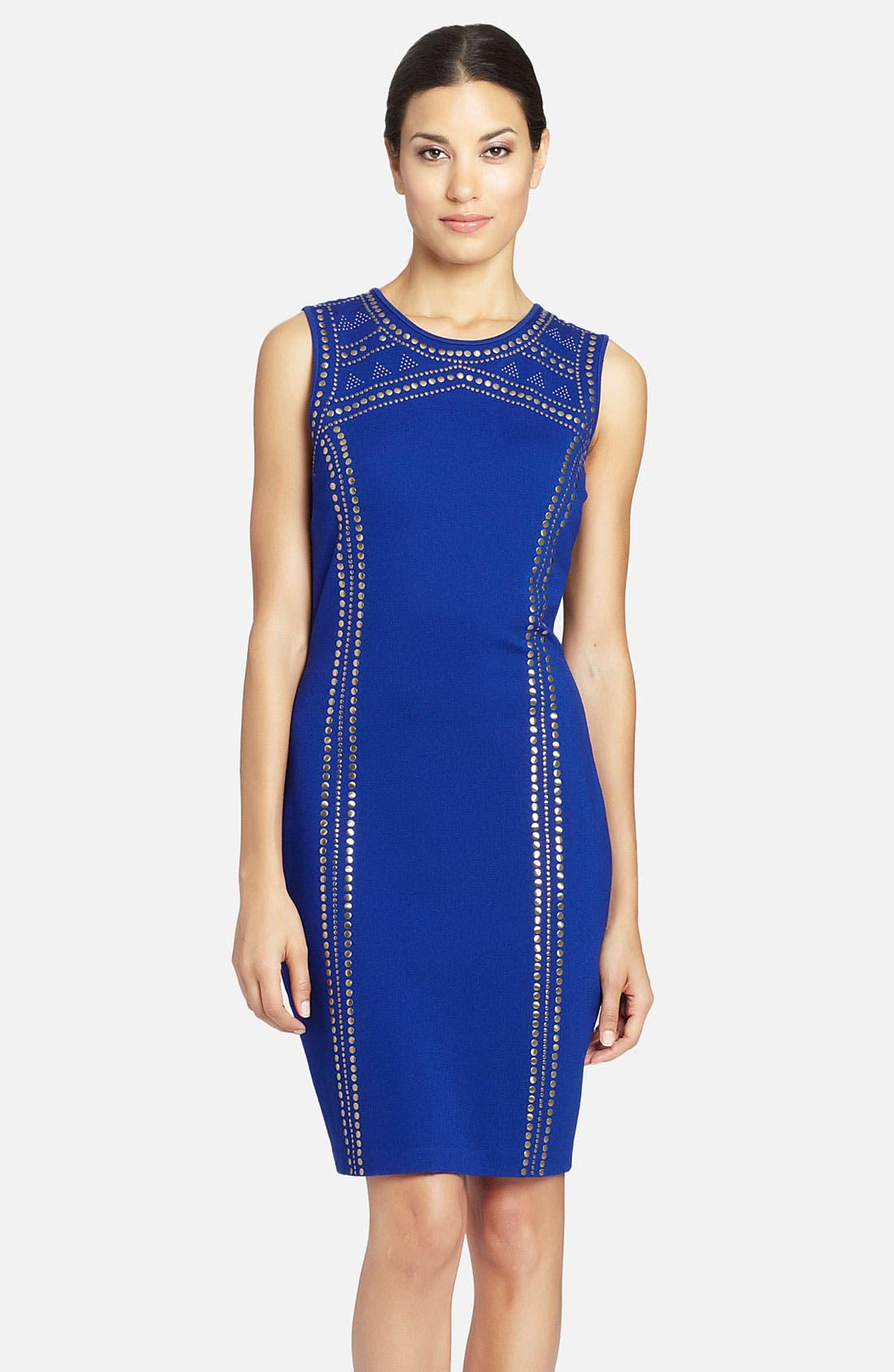 Alternate Image 1 Selected - Cynthia Steffe 'Aundrea' Studded Ponte Sheath Dress