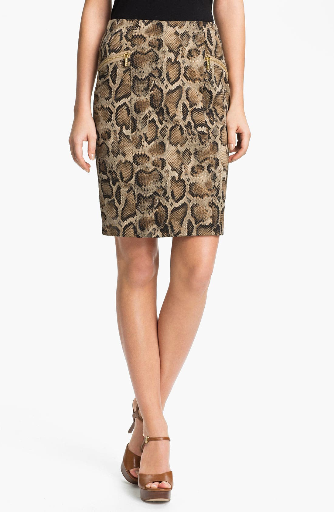 Main Image - MICHAEL Michael Kors 'Mamba' Snake Print Pencil Skirt