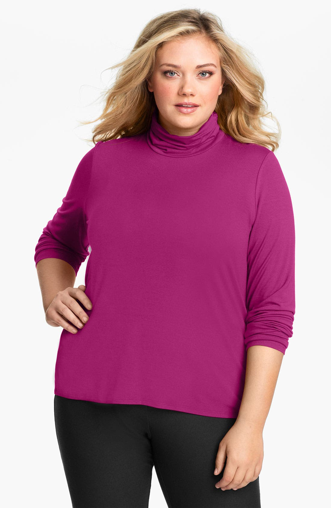 Main Image - Eileen Fisher Scrunch Neck Top (Plus)