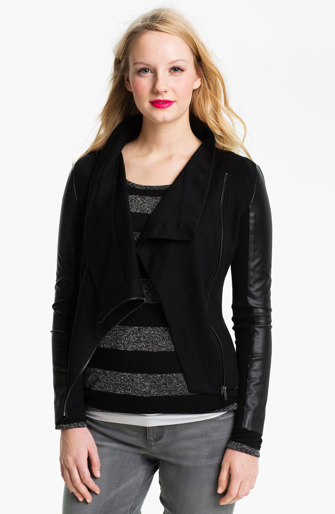 Alternate Image 1 Selected - Two by Vince Camuto Mix Media Jacket