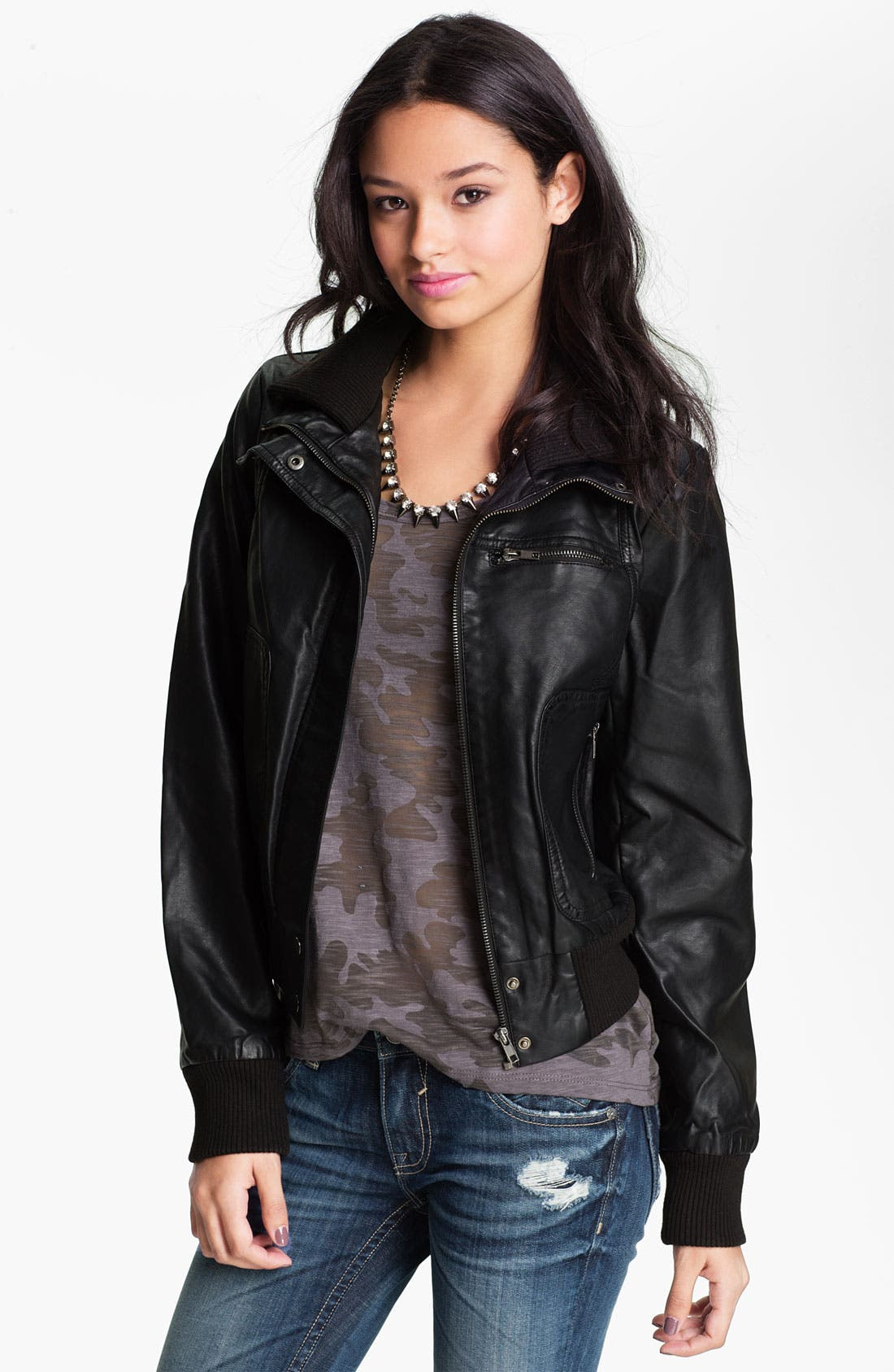 Main Image - Thread & Supply Faux Leather Bomber Jacket (Juniors)