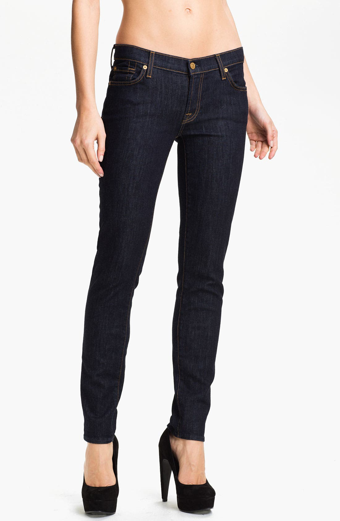Alternate Image 1 Selected - 7 For All Mankind® 'The Slim Cigarette' Stretch Jeans (Rinse)