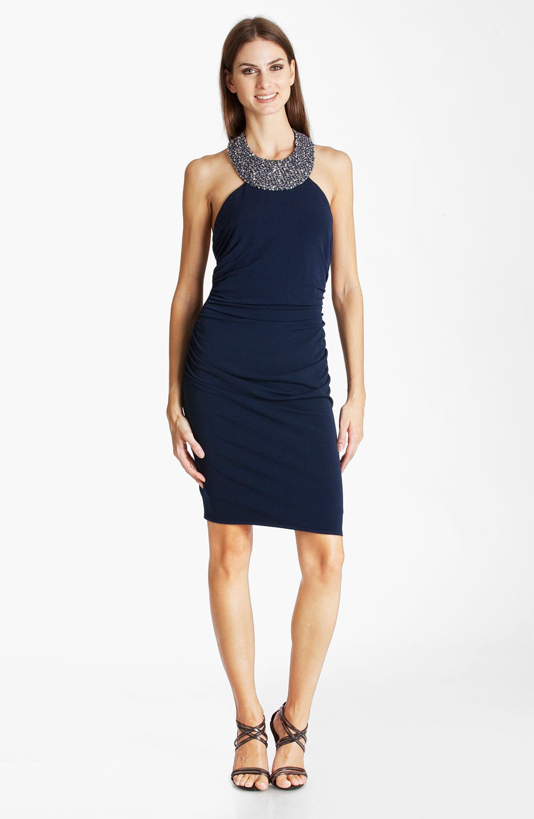 Alternate Image 1 Selected - JS Boutique Beaded Jersey Halter Dress