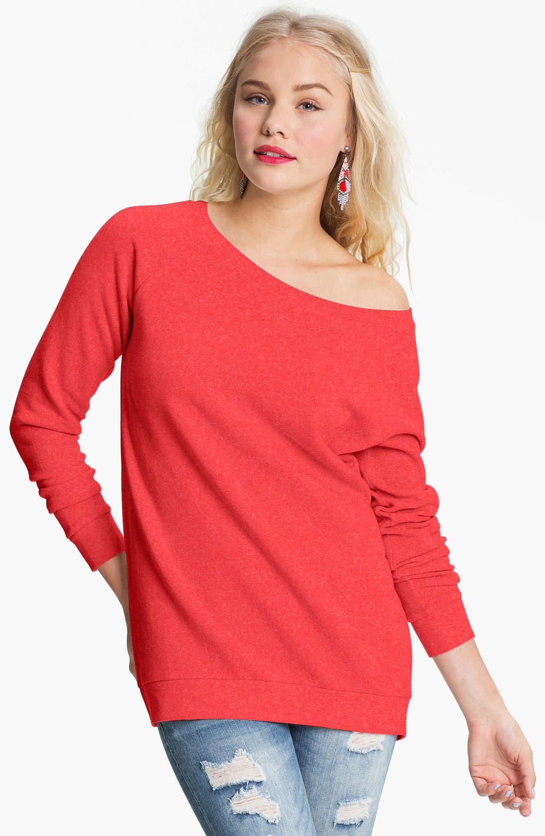 Alternate Image 1 Selected - Rubbish® Off Shoulder Sweatshirt (Juniors)