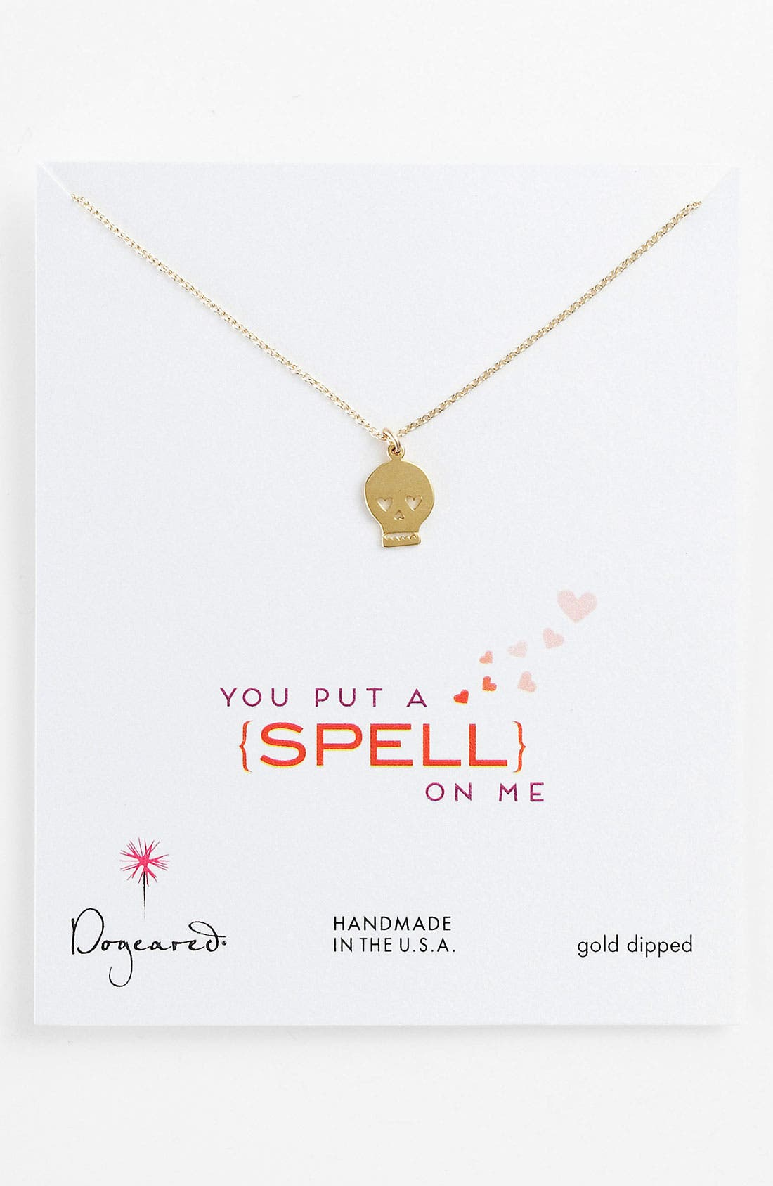 Main Image - Dogeared 'Love - You Put a Spell on Me' Skull Pendant Necklace