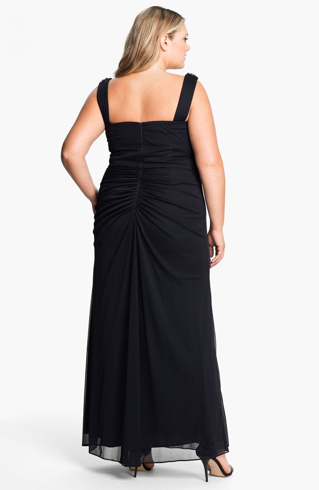 Alternate Image 2  - Xscape Beaded Shoulder Mesh Dress (Plus)