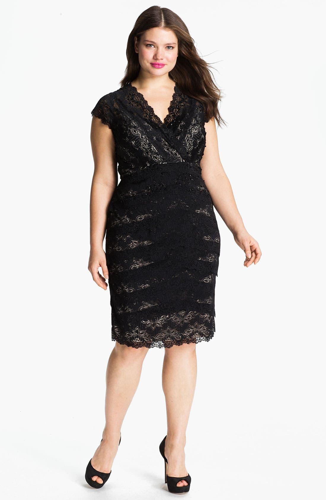 Main Image - JS Collections Layered Lace Sheath Dress (Plus)