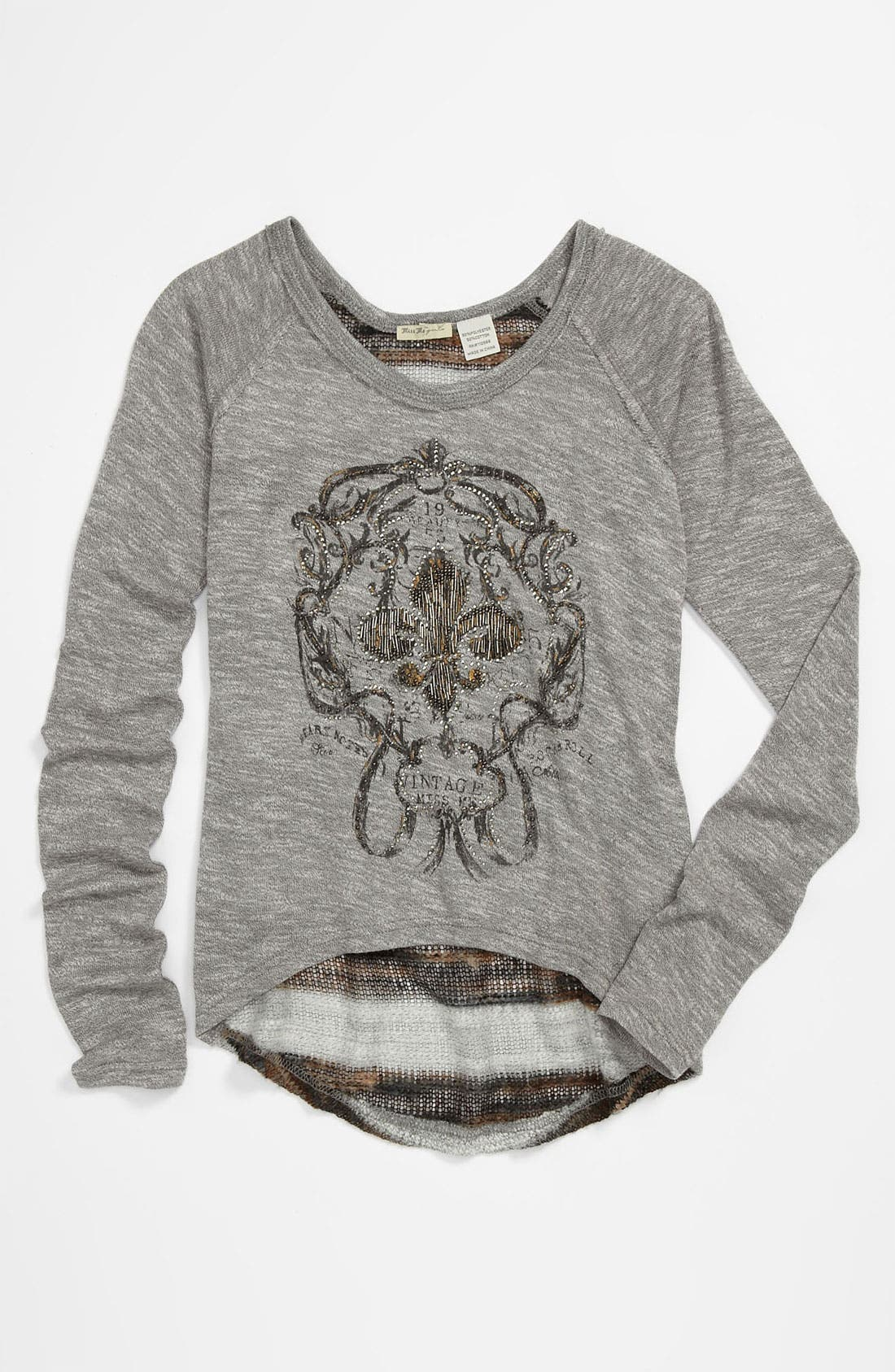 Alternate Image 1 Selected - Miss Me Long Sleeve Tee (Big Girls)