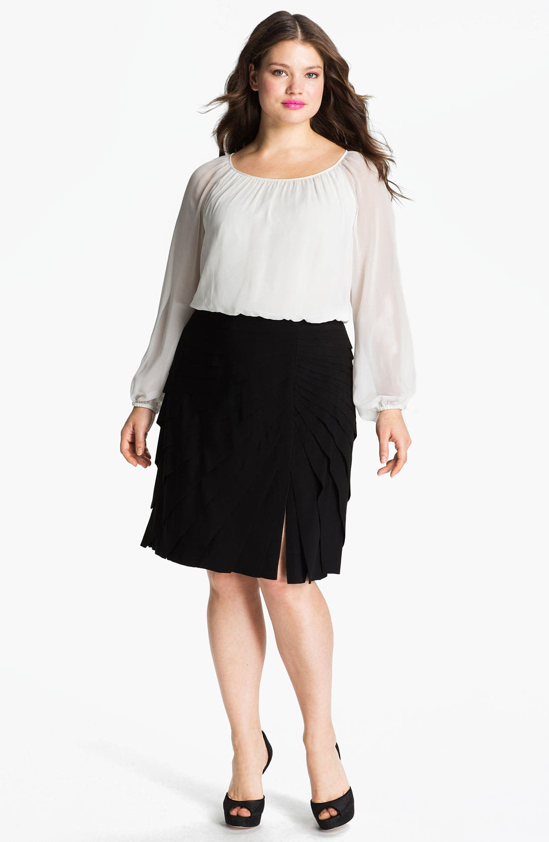 Main Image - Adrianna Papell Mock Two-Piece Chiffon & Jersey Dress (Plus)