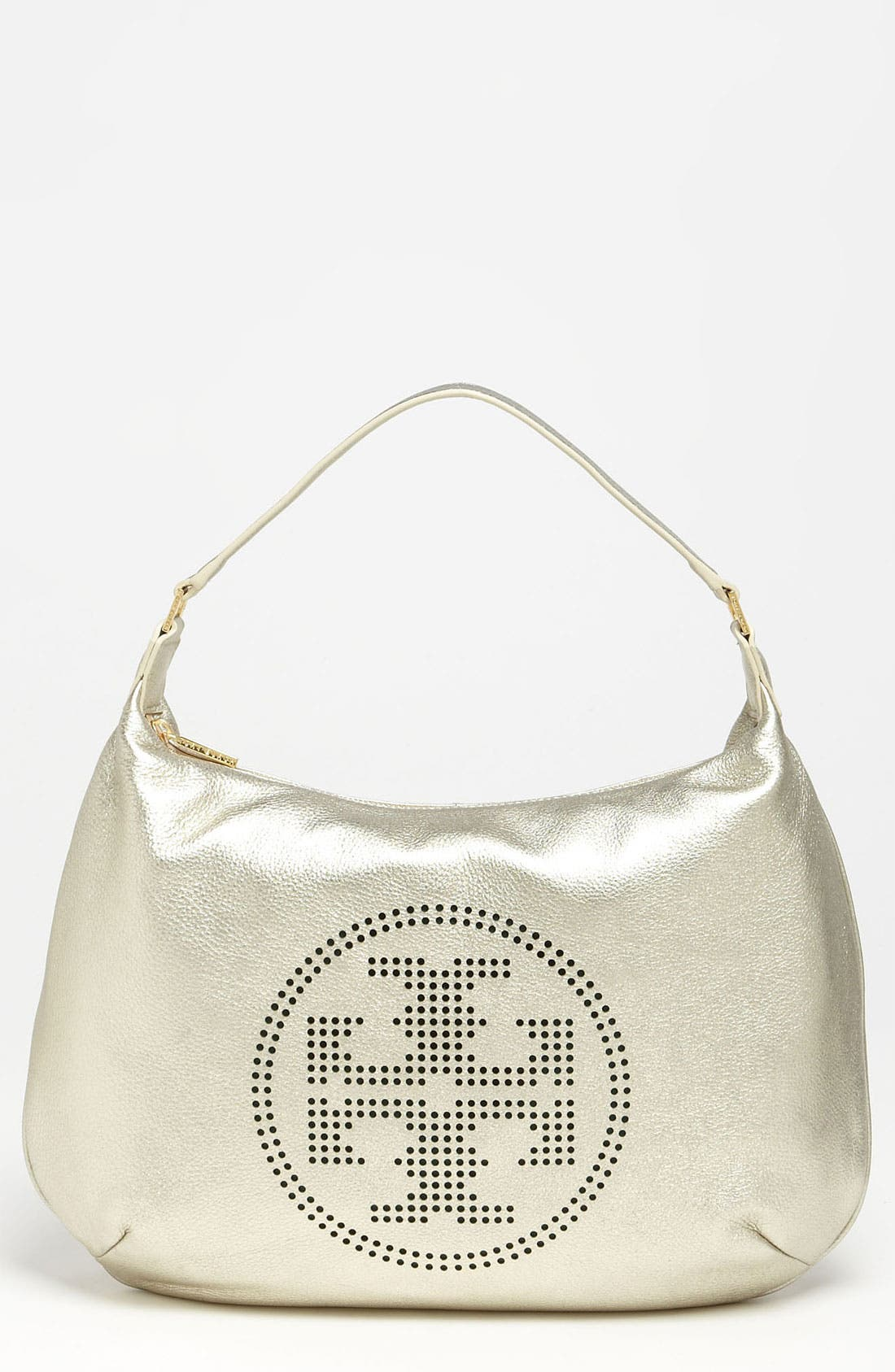 Main Image - Tory Burch Perforated Logo Metallic Leather Hobo