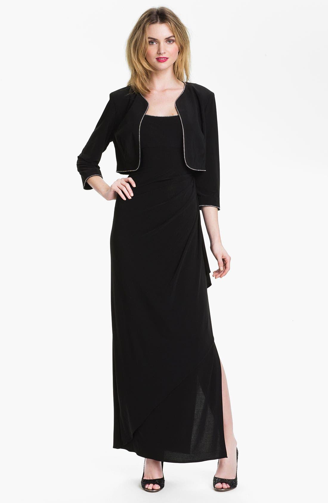 Alternate Image 1 Selected - Alex Evenings Rhinestone Trim Jersey Dress & Bolero