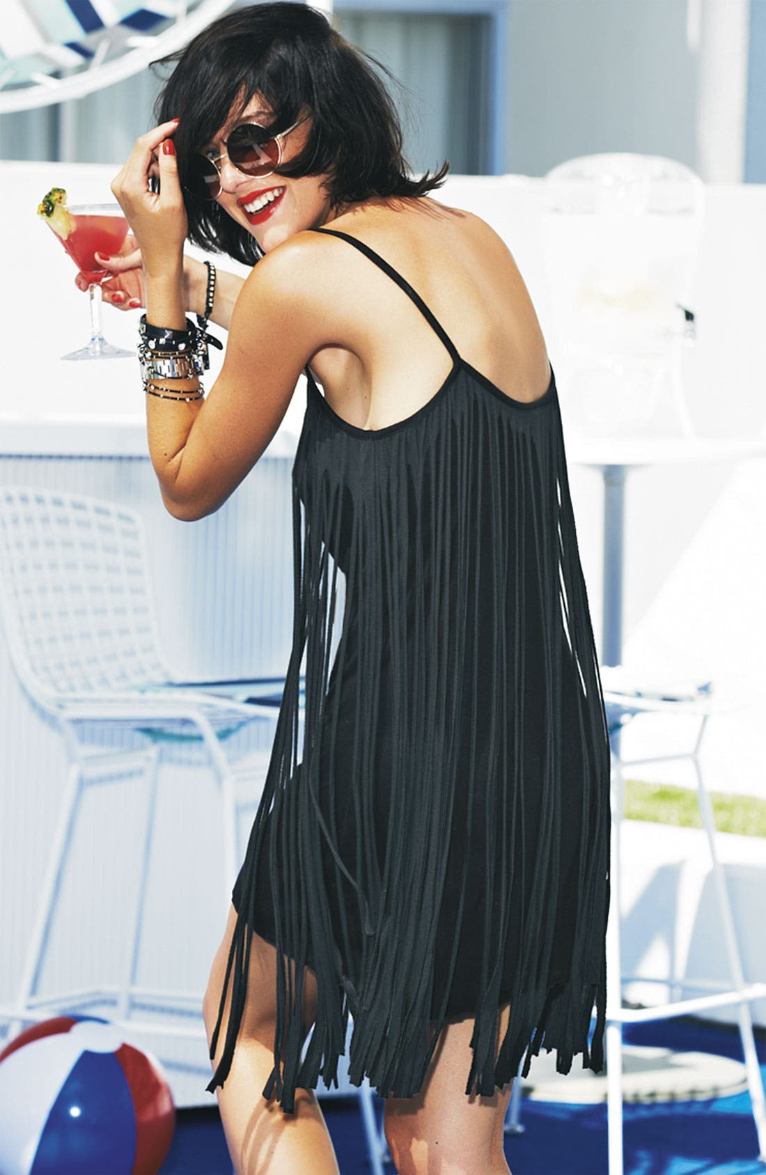 Alternate Image 4  - Badgley Mischka Fringed Cover-Up Dress