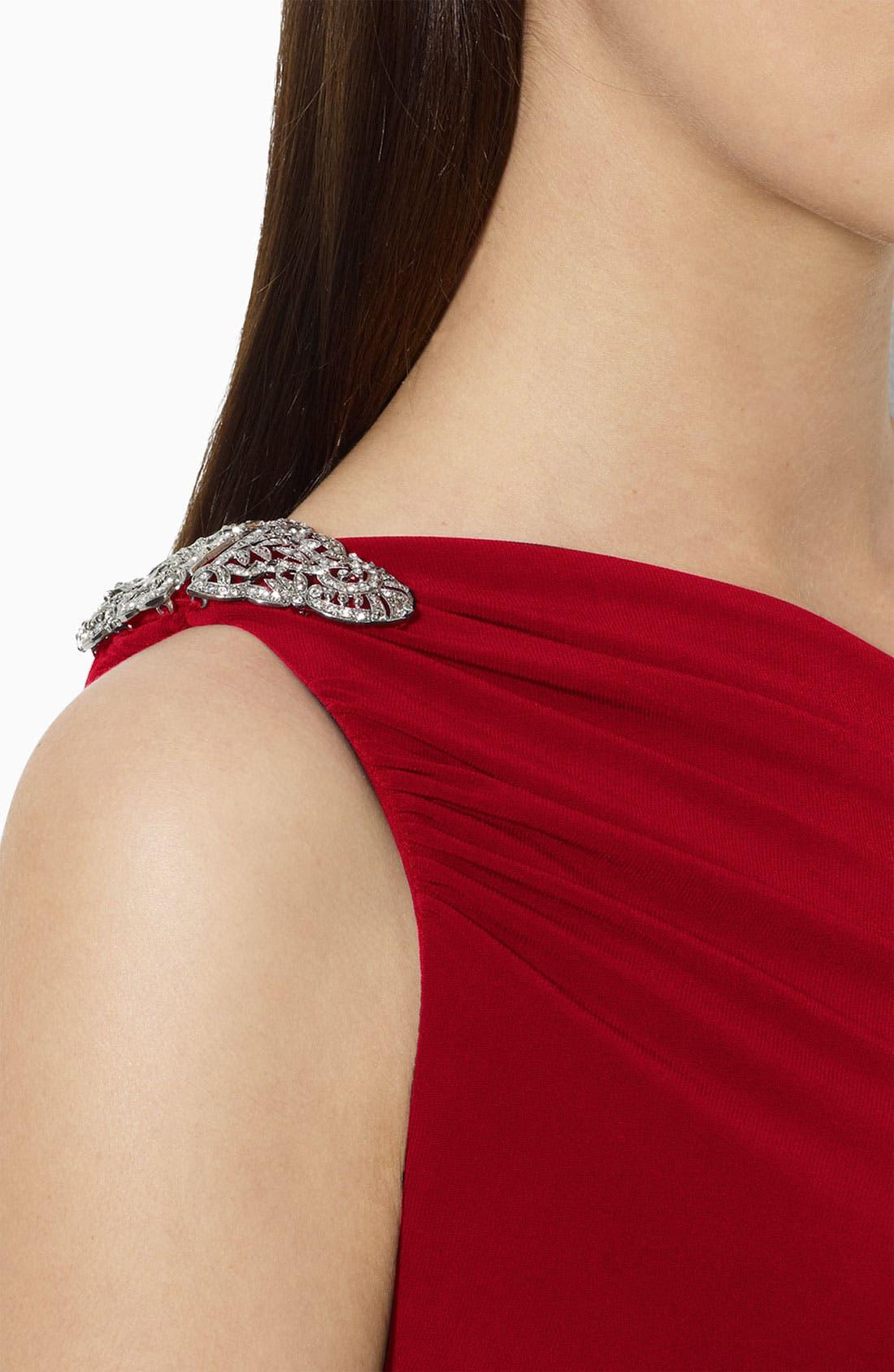 Alternate Image 2  - Lauren Ralph Lauren One Shoulder Matte Jersey Gown