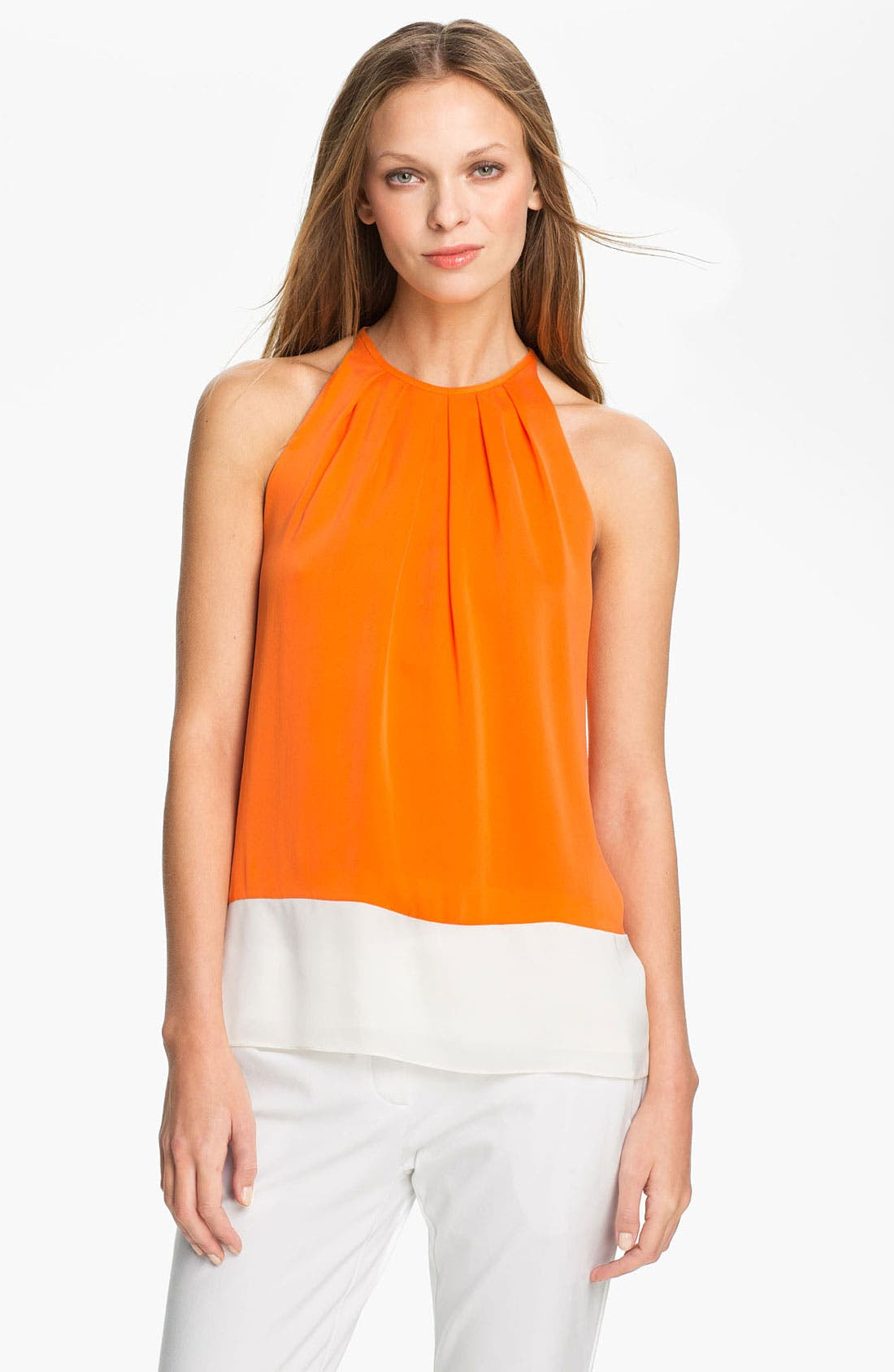 Main Image - Theory 'Milka C.' Stretch Silk Halter Top