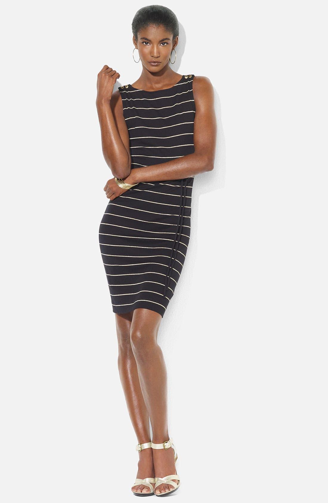 Main Image - Lauren Ralph Lauren Bateau Neck Stripe Dress (Petite)