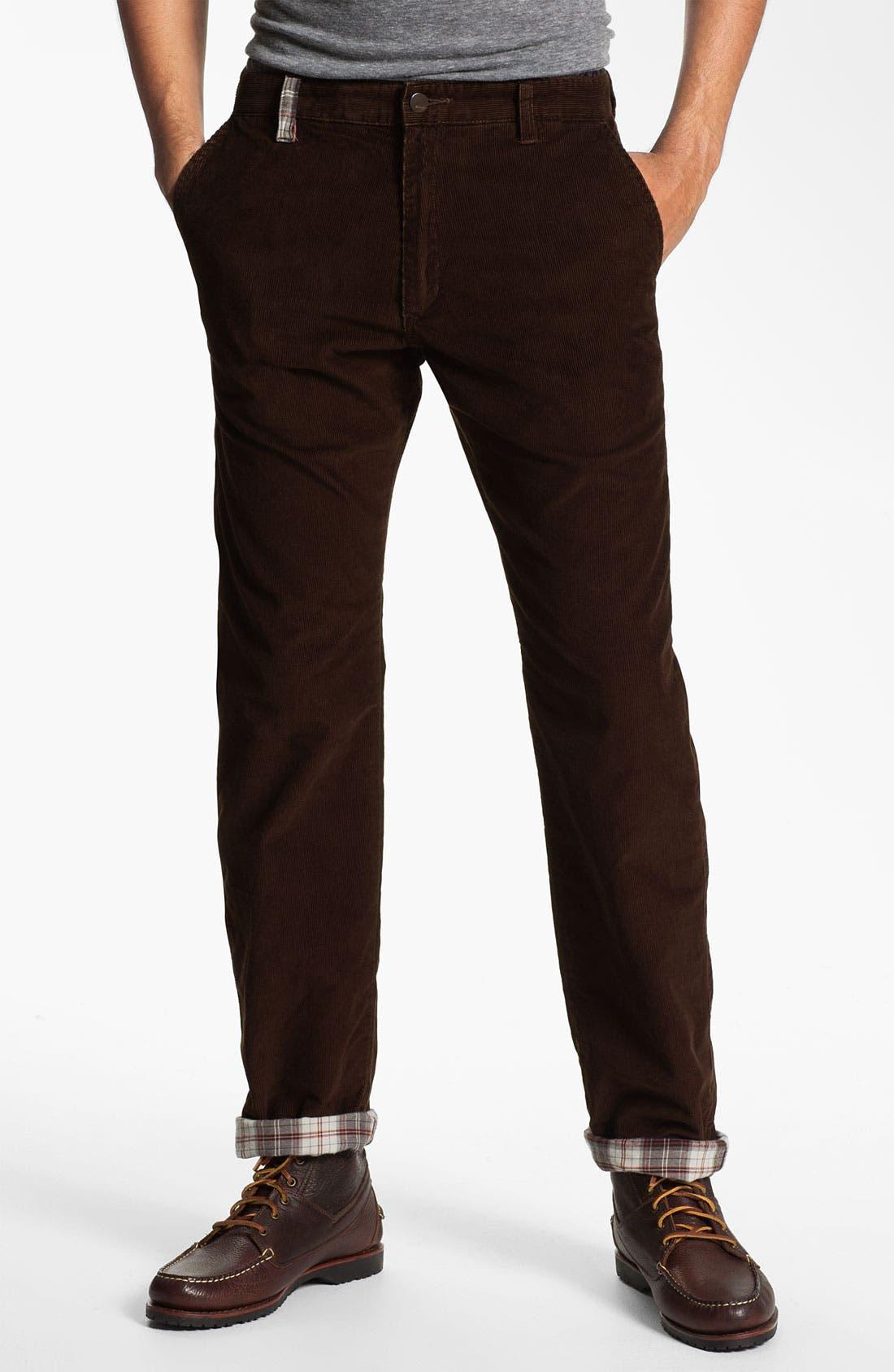 Main Image - Toddland Flannel Lined Slim Straight Leg Corduroy Pants