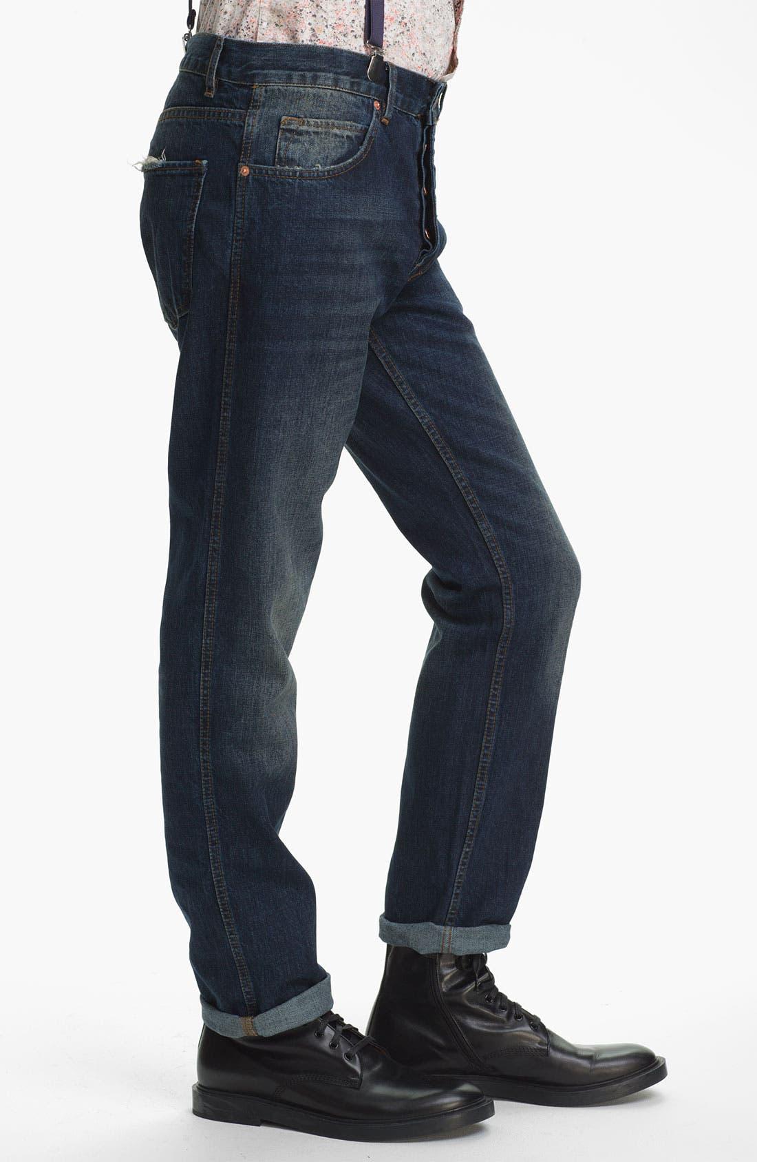 Alternate Image 3  - Topman Slim Fit Jeans (Indigo)