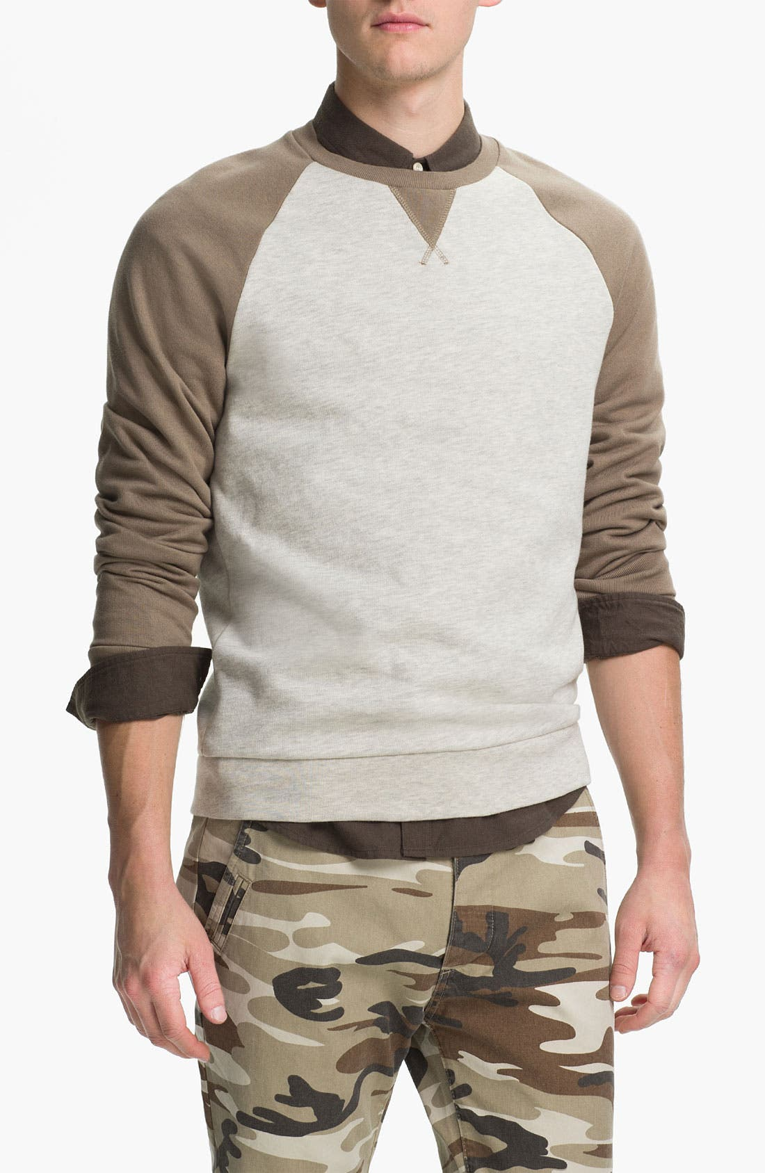 Alternate Image 1 Selected - Topman Raglan Crewneck Sweatshirt