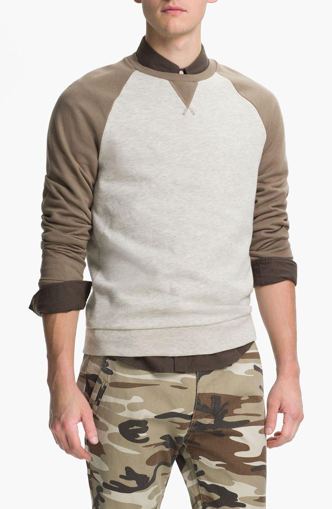 Main Image - Topman Raglan Crewneck Sweatshirt