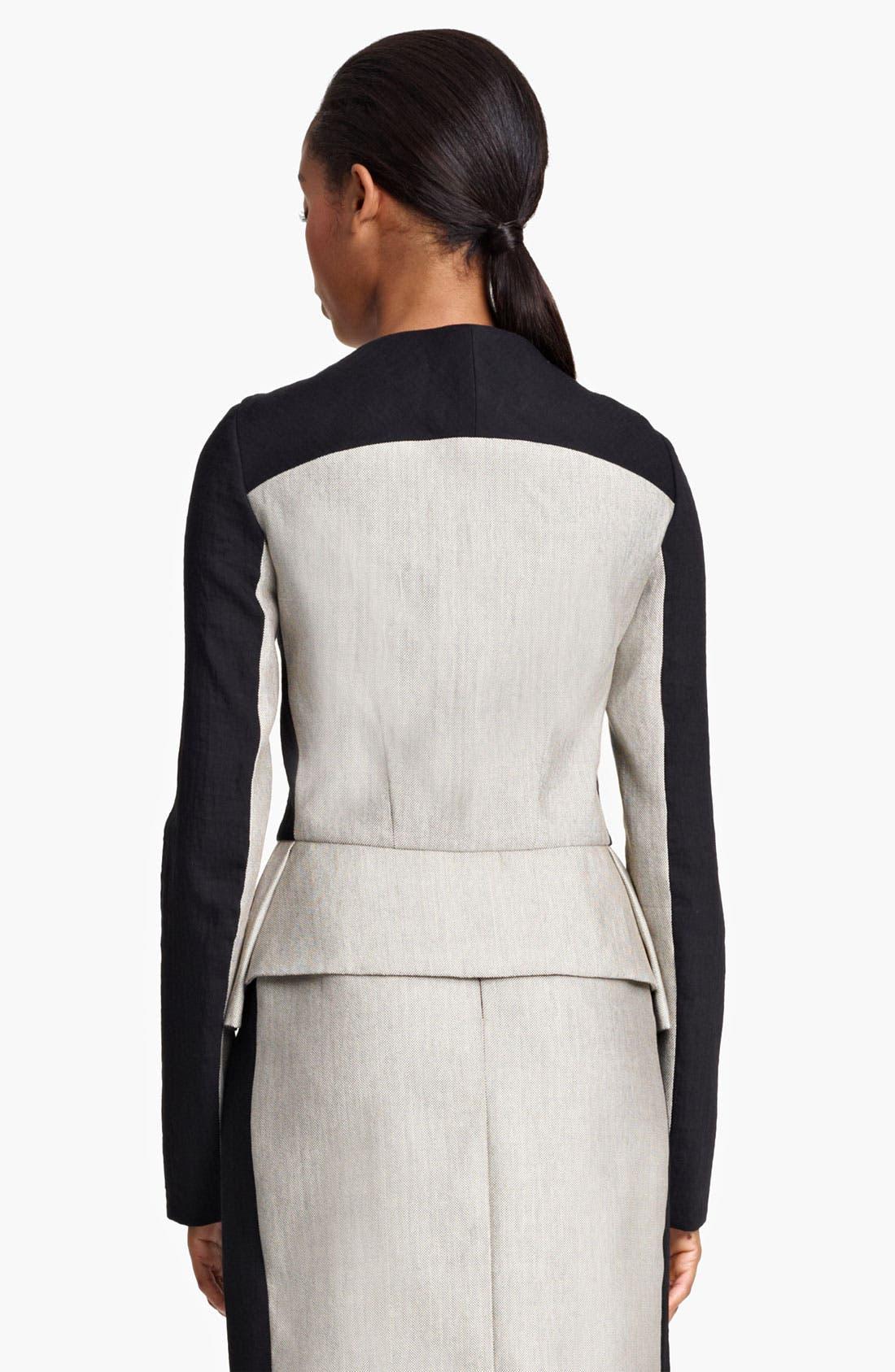 Alternate Image 3  - Lida Baday Contrast Sleeve Raffia Peplum Jacket