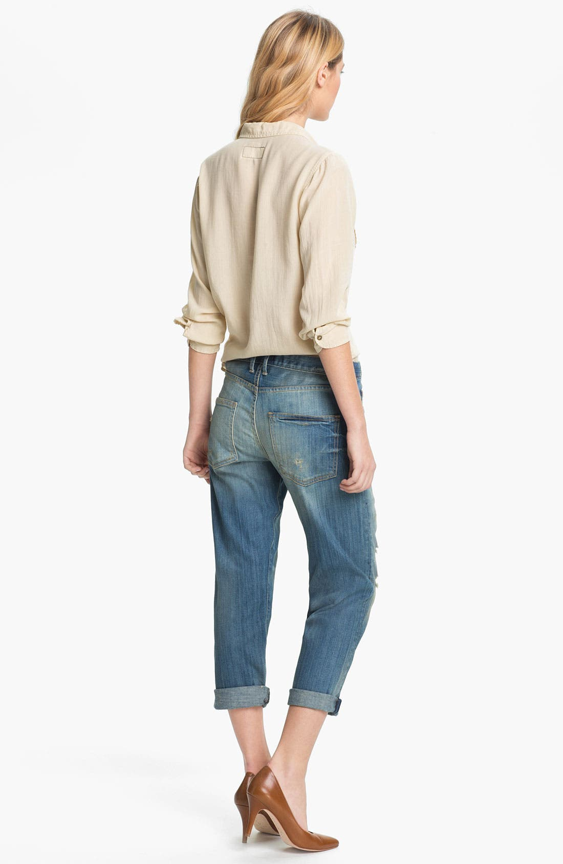 Alternate Image 5  - Current/Elliott 'The Boyfriend Jean' Stretch Jeans (Panhandle with Repair)