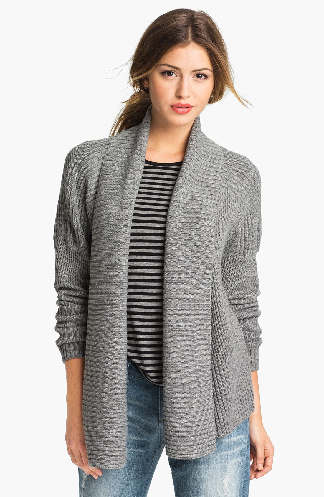 Main Image - Vince Camuto Open Front Ribbed Cardigan