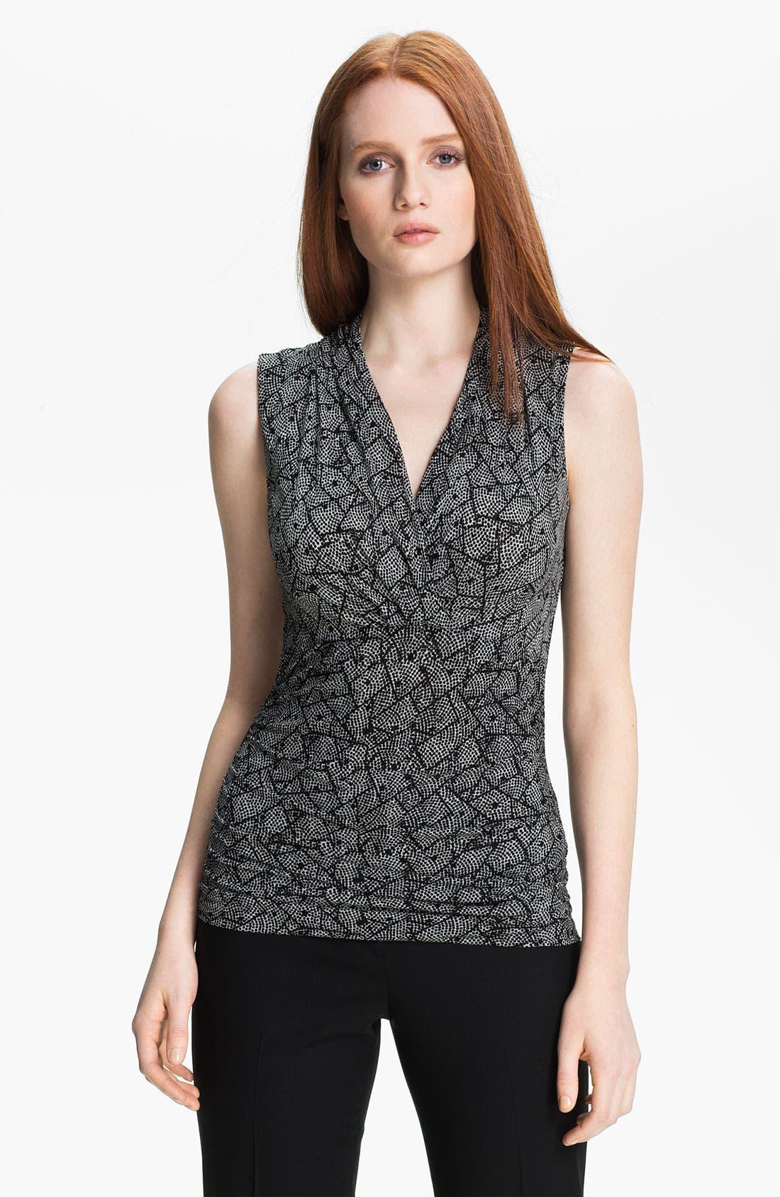 Main Image - Classiques Entier® Surplice Silk Blend Mesh Top