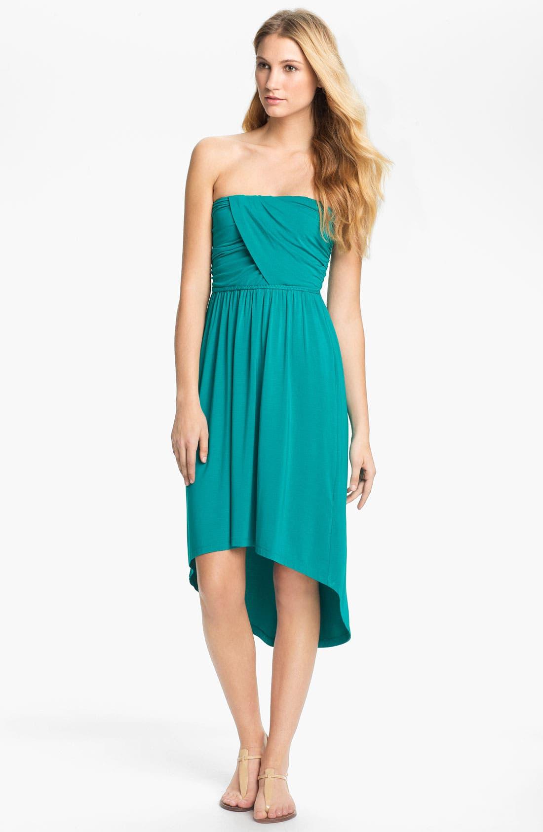 Main Image - Tart 'Delaney' Strapless Shirred Jersey High/Low Dress