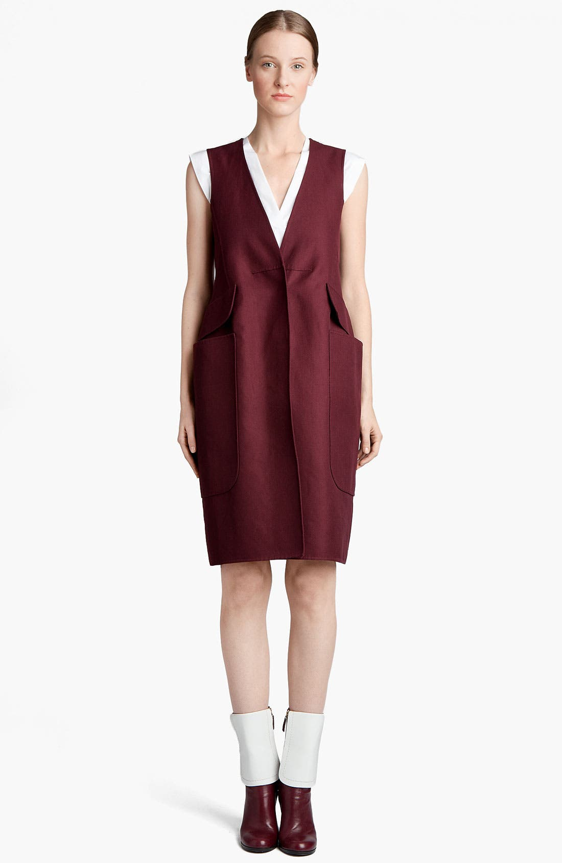 Main Image - Jil Sander Sleeveless Gabardine Coatdress