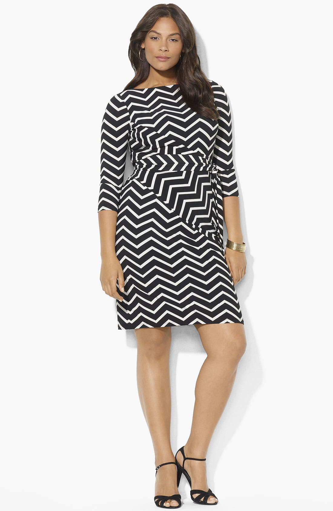 Main Image - Lauren Ralph Lauren Print Side Tie Matte Jersey Dress (Plus)