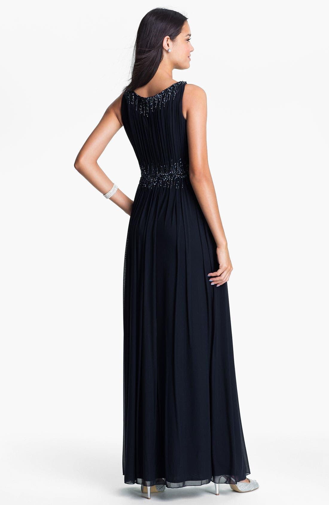 Alternate Image 2  - La Femme Embellished Waist Mesh Column Gown