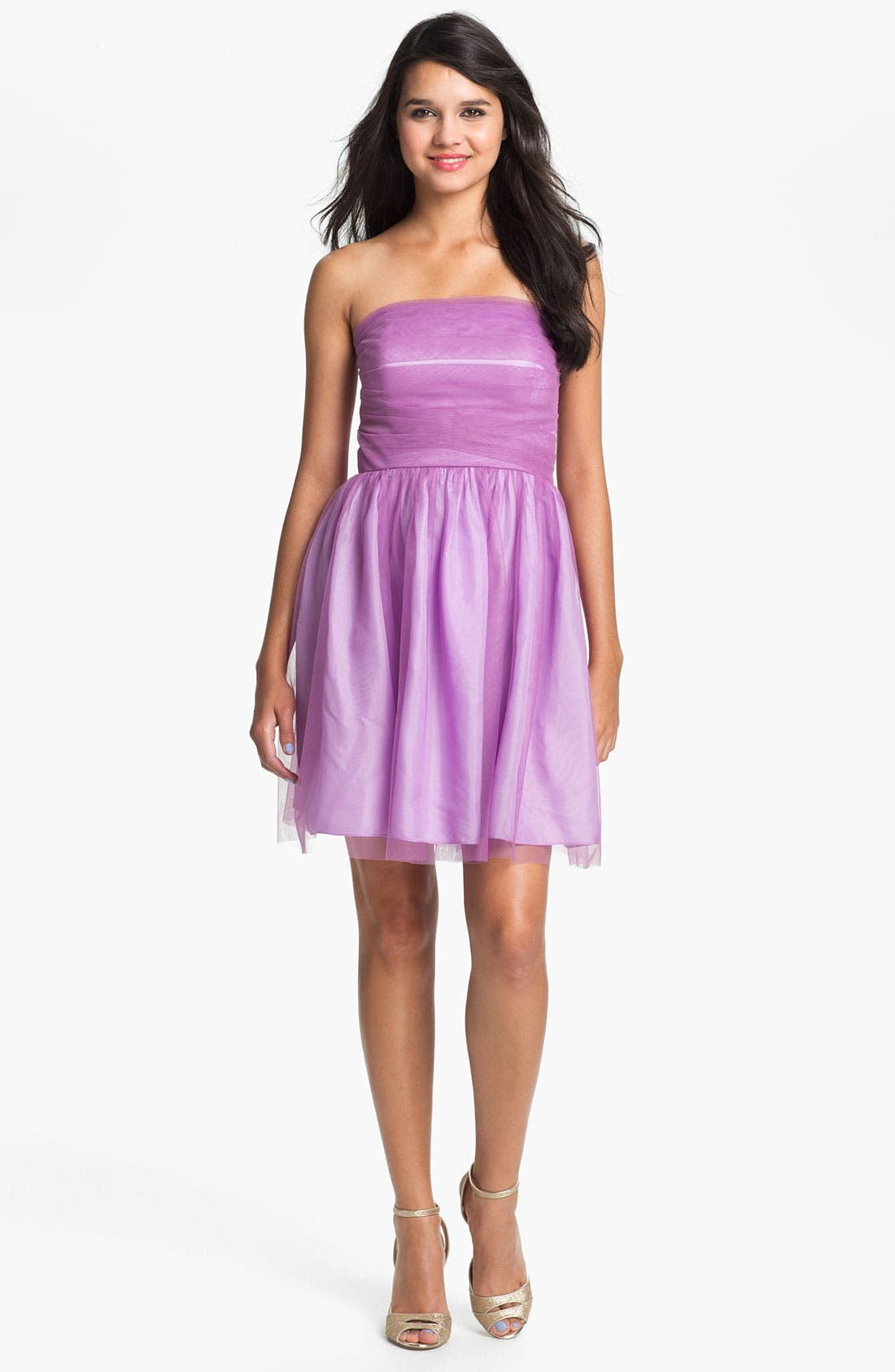 Main Image - Donna Morgan 'Kaylin' Strapless Tulle Overlay Fit & Flare Dress