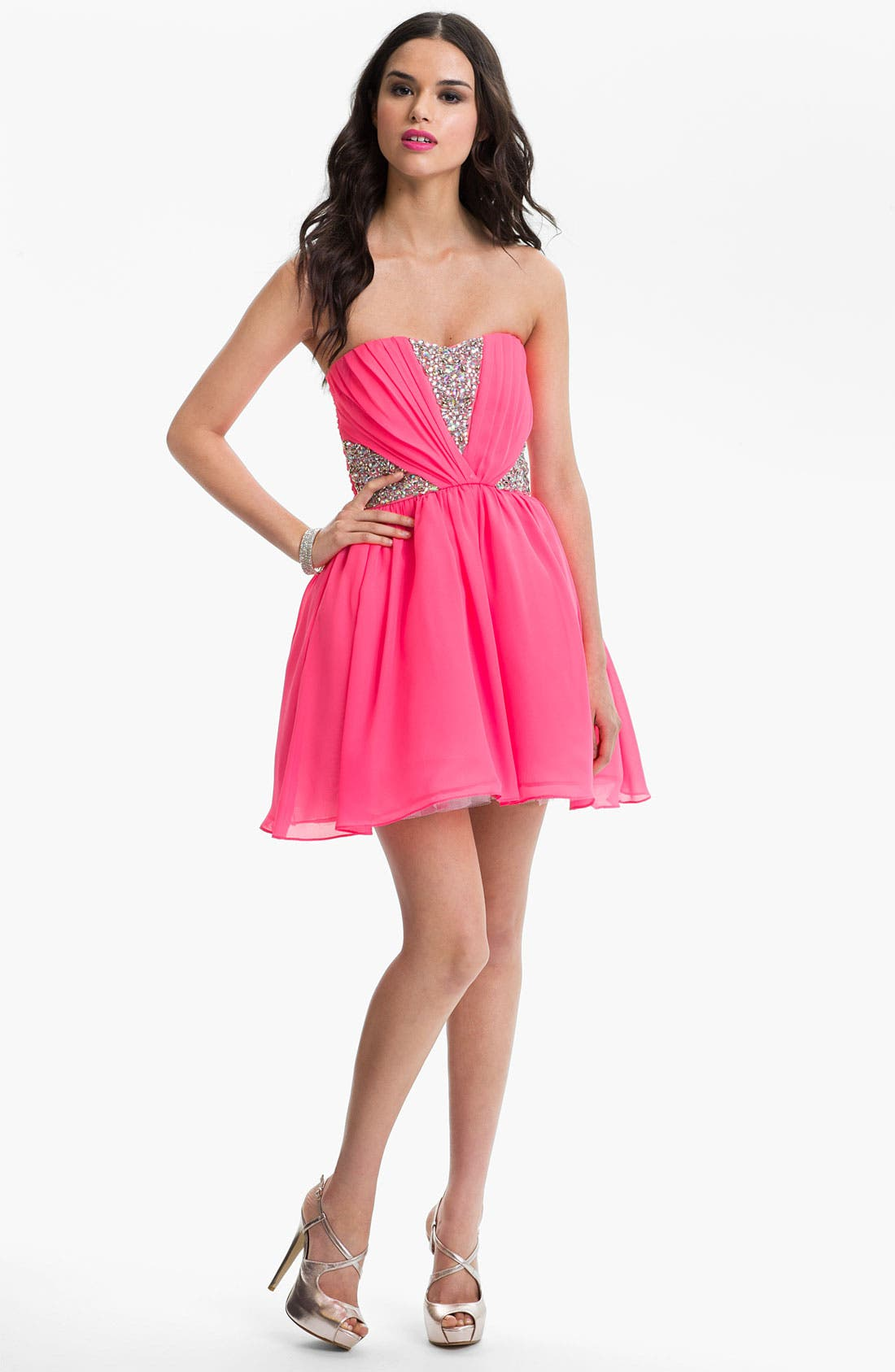Alternate Image 1 Selected - As U Wish Embellished Fit & Flare Dress (Juniors) (Online Exclusive)