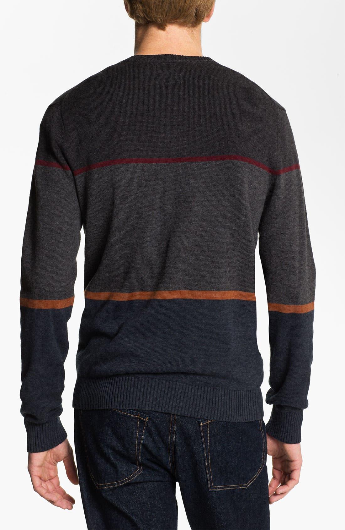 Alternate Image 2  - RVCA Stripe Crewneck Sweater