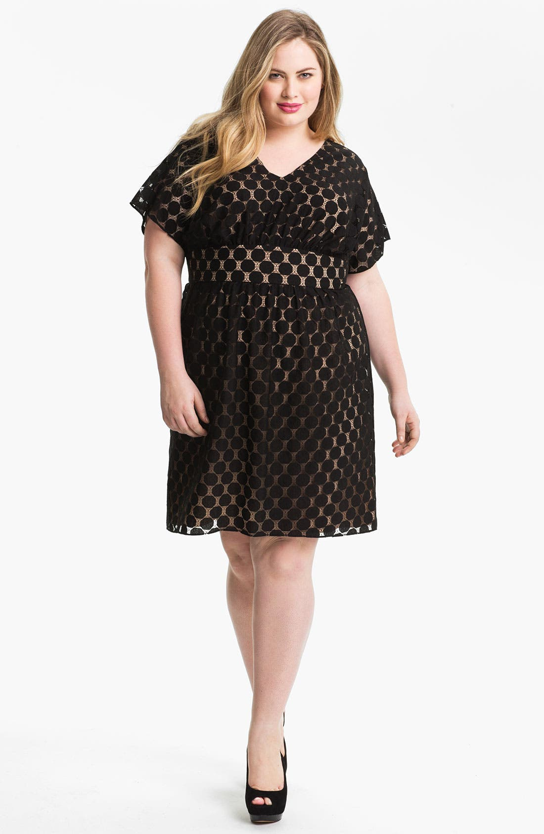 Alternate Image 1 Selected - Adrianna Papell Dot Lace Overlay Dress (Plus Size)