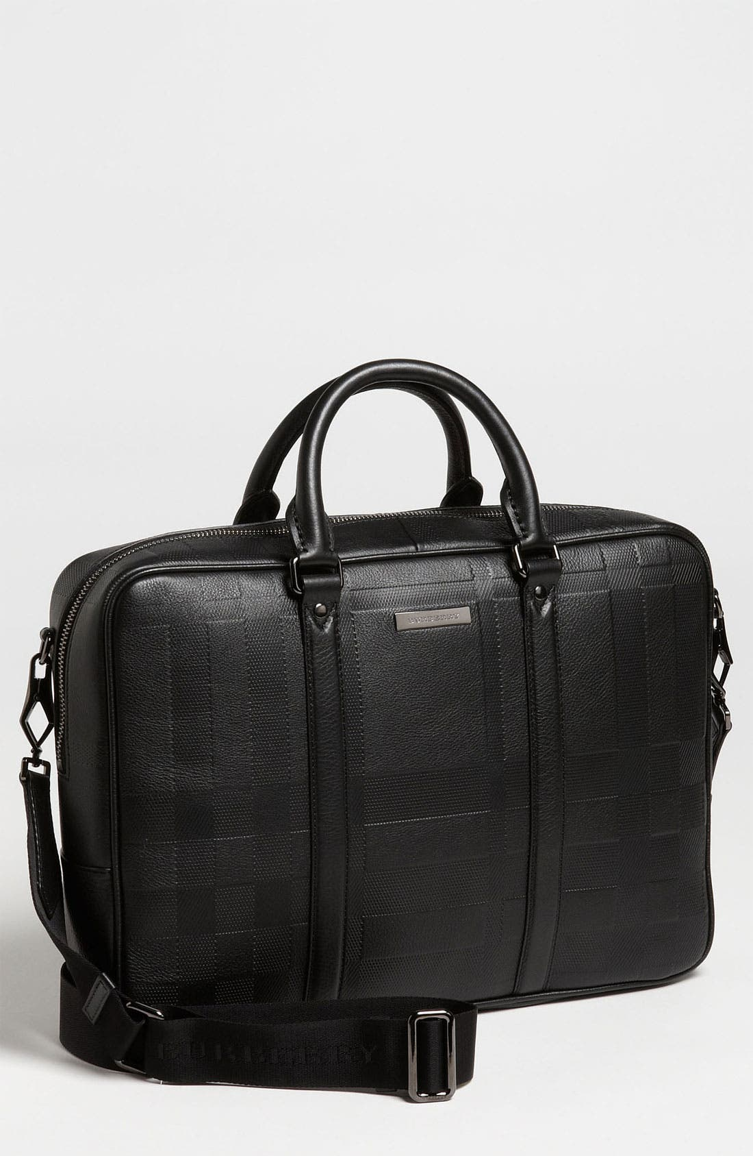 Alternate Image 1 Selected - Burberry 'Maxwell' Check Embossed Leather Briefcase