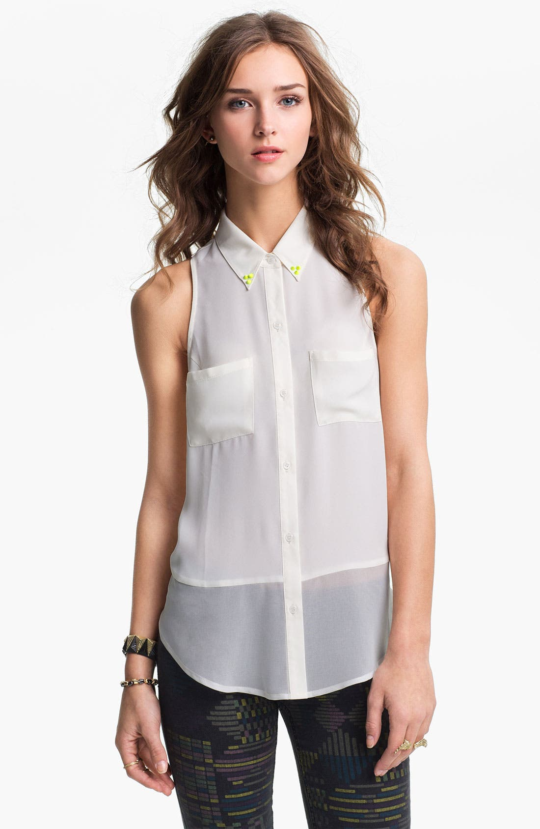 Main Image - Lush Neon Stud Collar Sleeveless Shirt (Juniors)