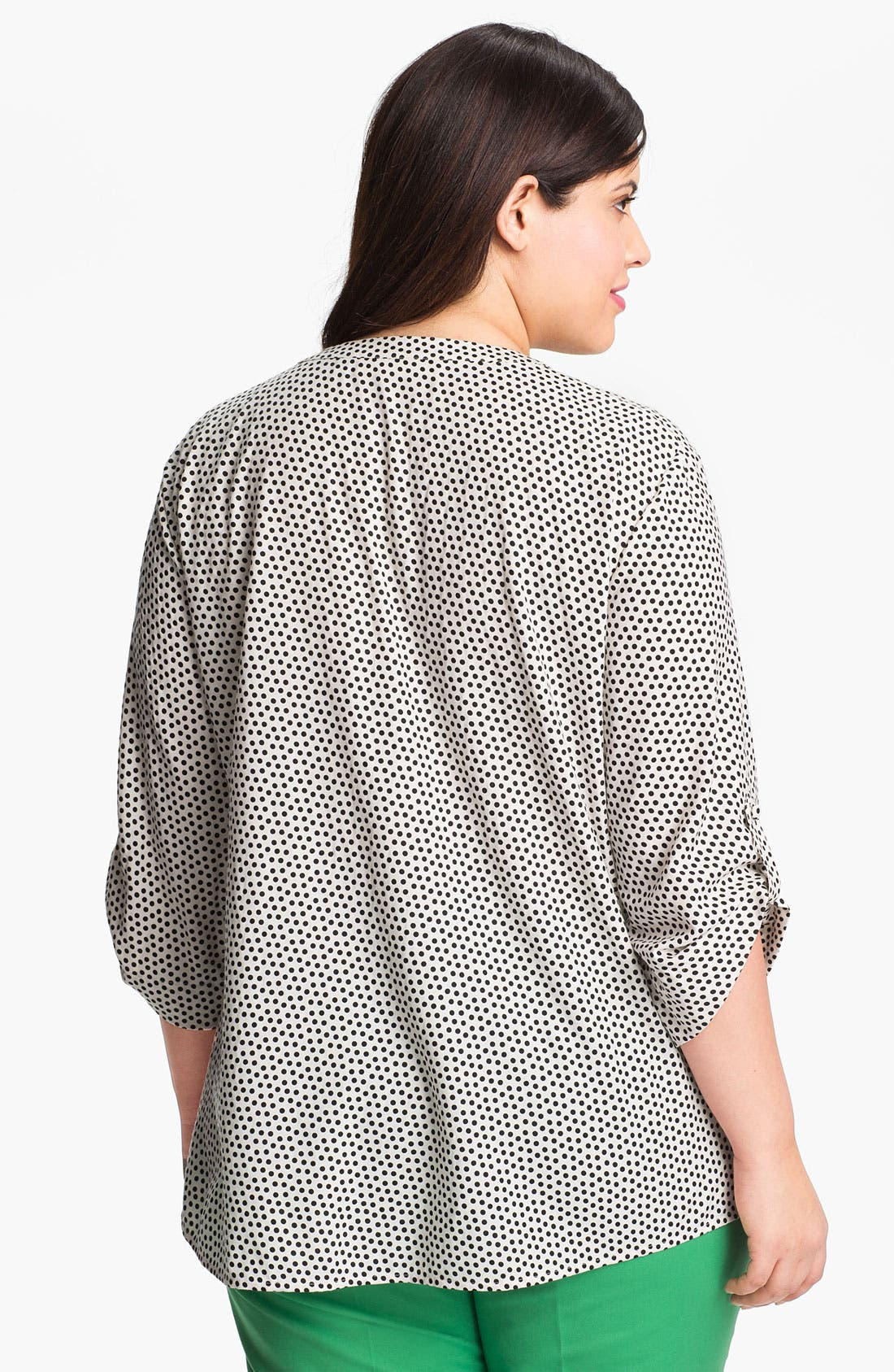 Alternate Image 2  - Sejour Roll Sleeve Print Twill Shirt (Plus)