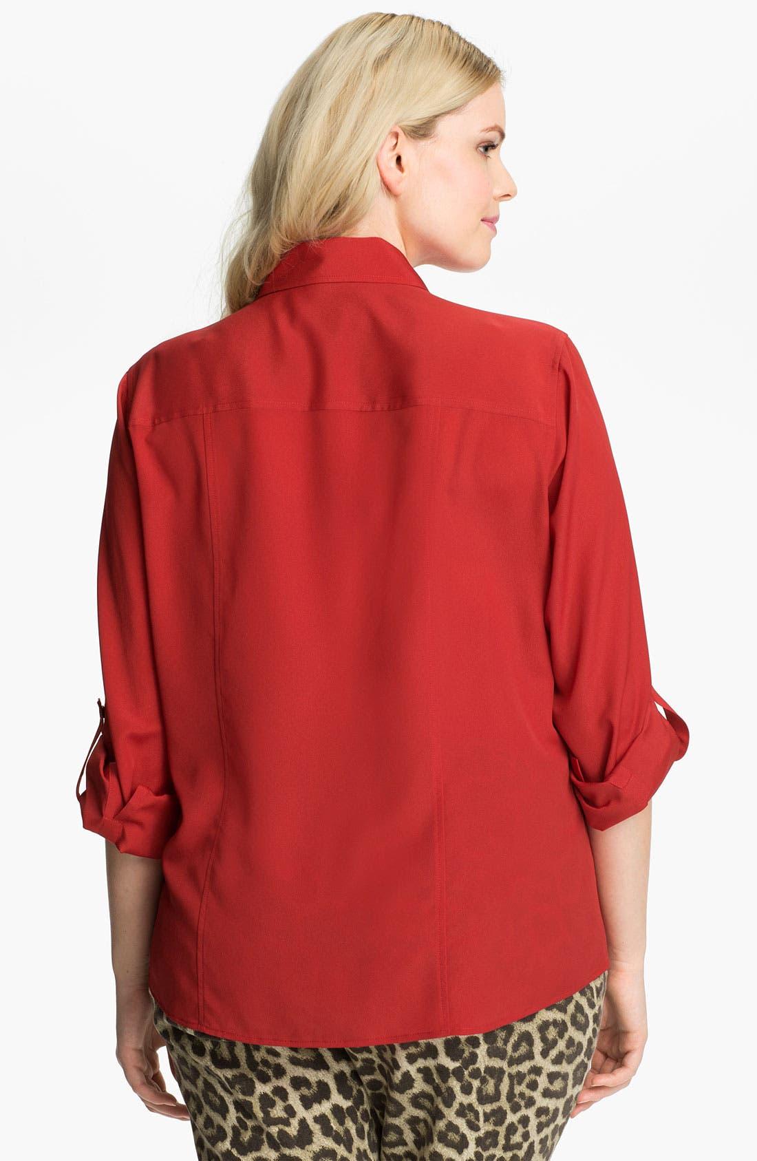Alternate Image 2  - MICHAEL Michael Kors Zip Campshirt (Plus)