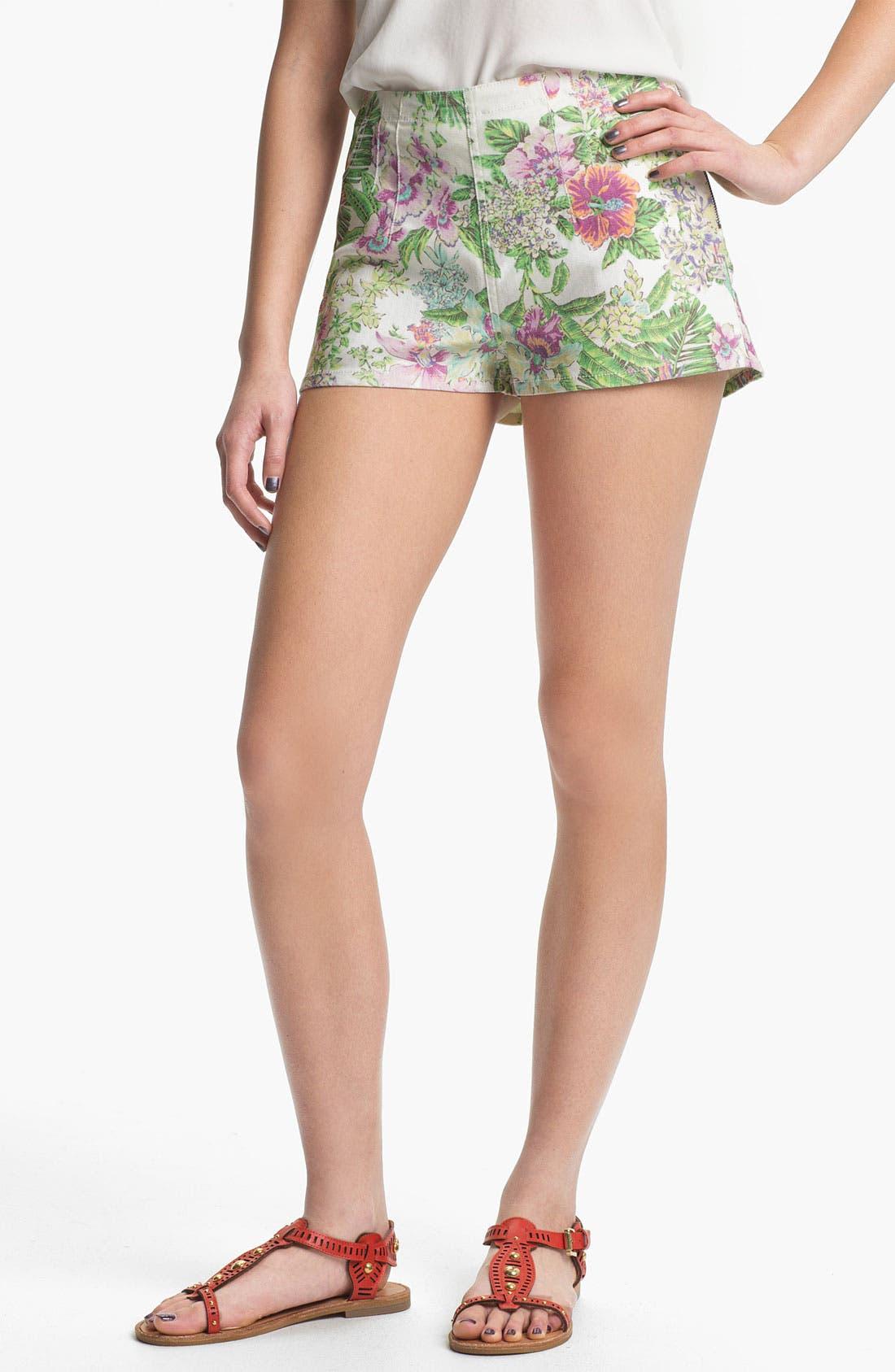 Main Image - Fire 'Tropical' Print High Waist Shorts (Juniors)