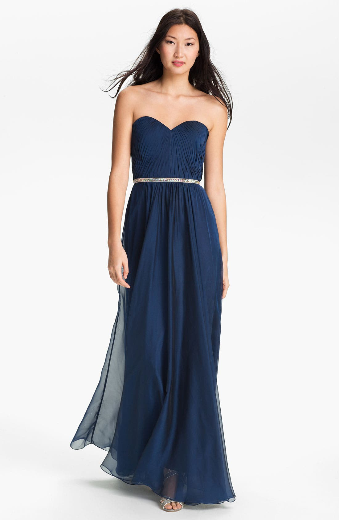 Alternate Image 1 Selected - La Femme Embellished Chiffon Strapless Gown