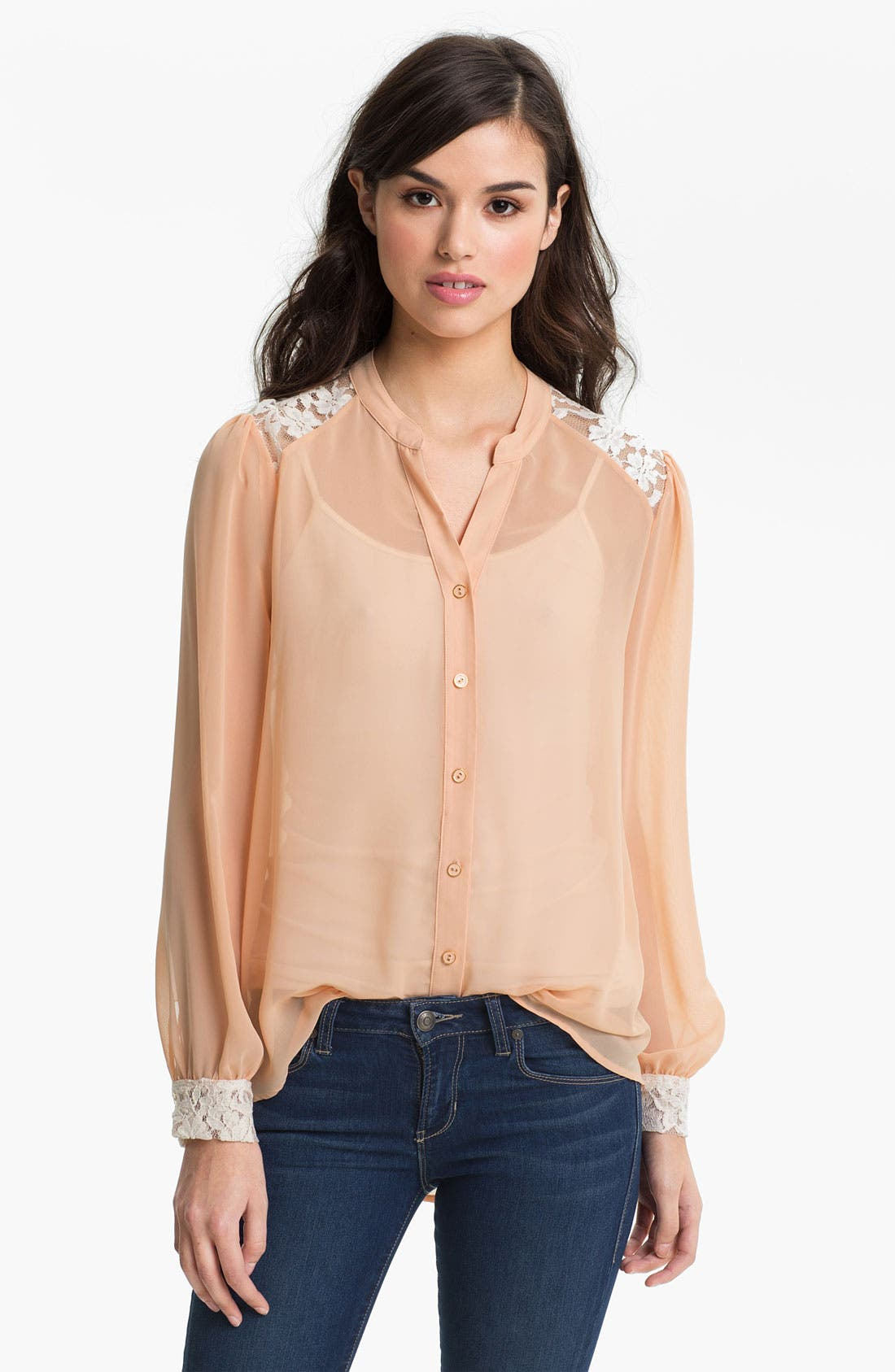 Alternate Image 1 Selected - Robin K Lace Trim Chiffon Shirt (Juniors)
