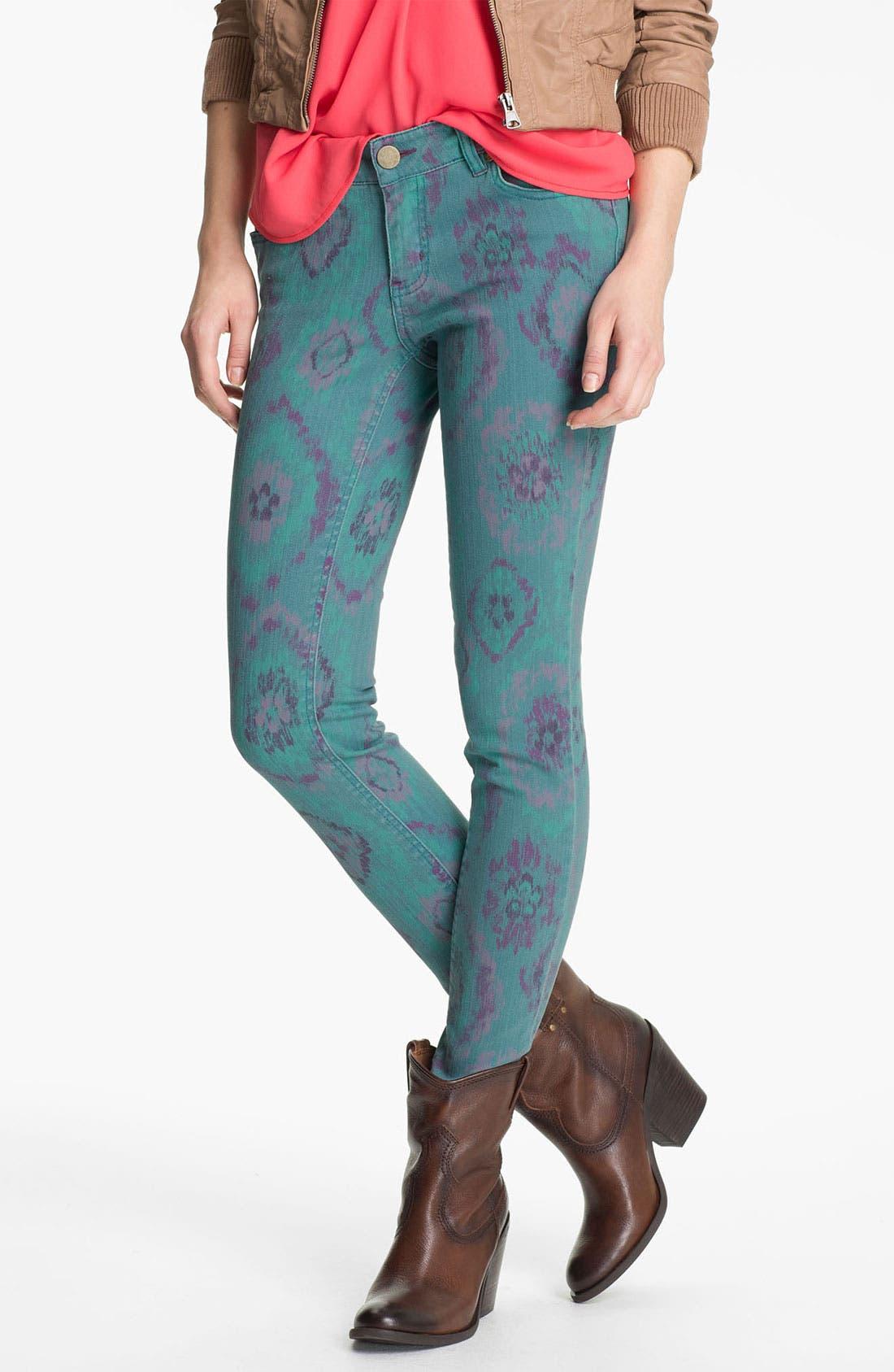 Alternate Image 2  - Fire Print Skinny Jeans (Teal Ikat) (Juniors)
