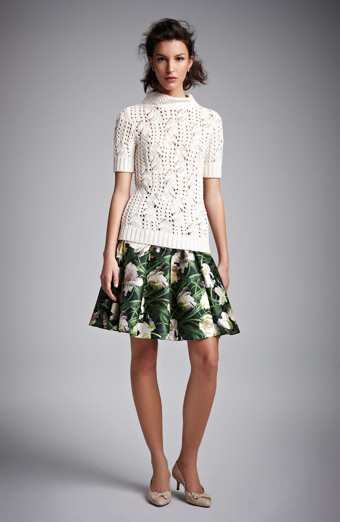 Alternate Image 4  - Oscar de la Renta Floral Print Swing Skirt