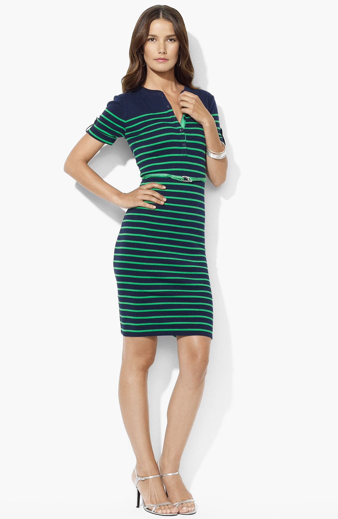 Main Image - Lauren Ralph Lauren Roll Sleeve Stripe Dress (Petite)