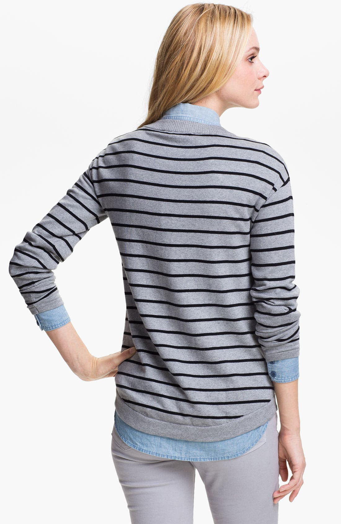 Alternate Image 2  - Two by Vince Camuto Stripe V-Neck Sweater