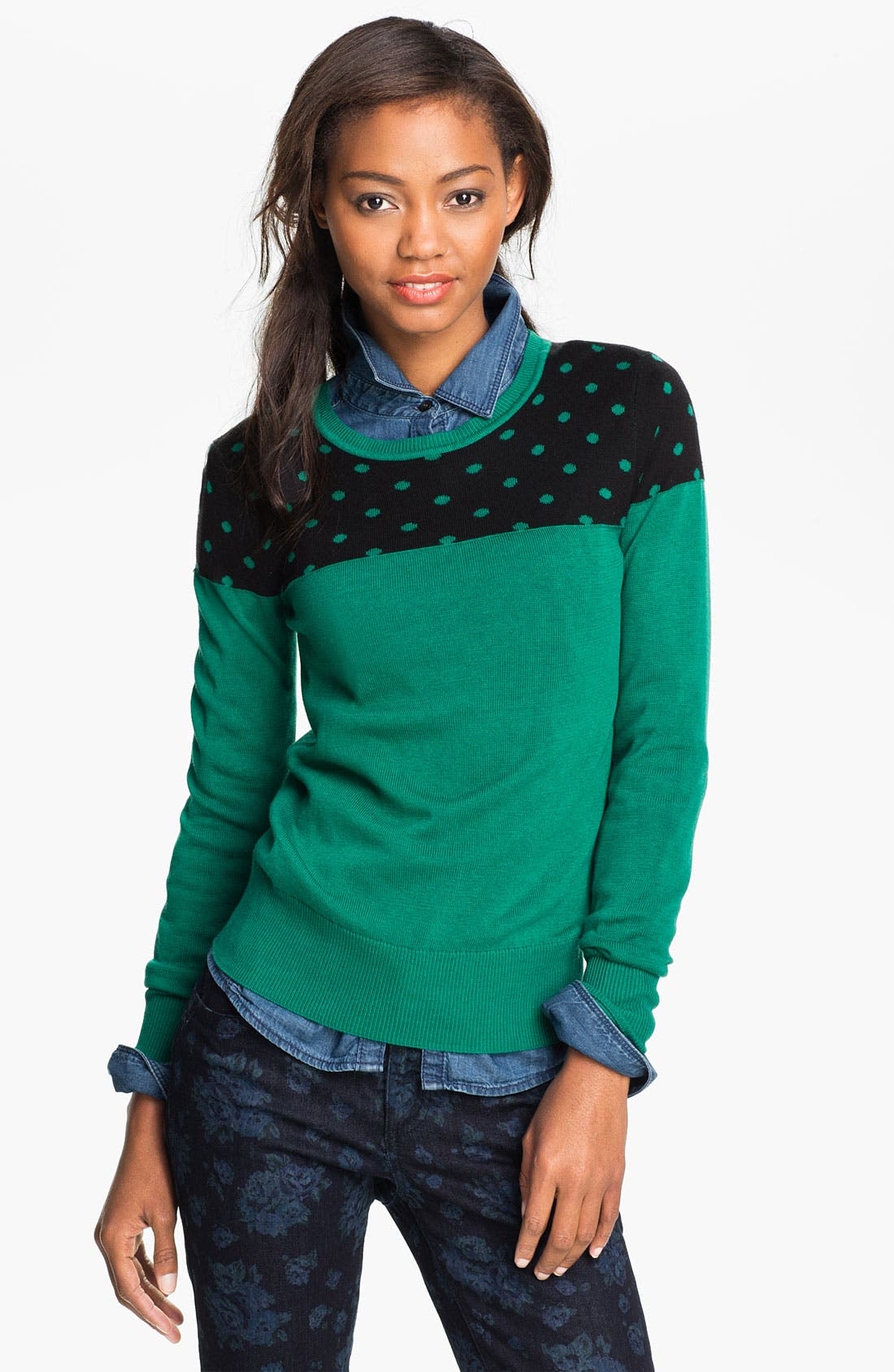 Alternate Image 1 Selected - Caslon® Patterned Crewneck Sweater