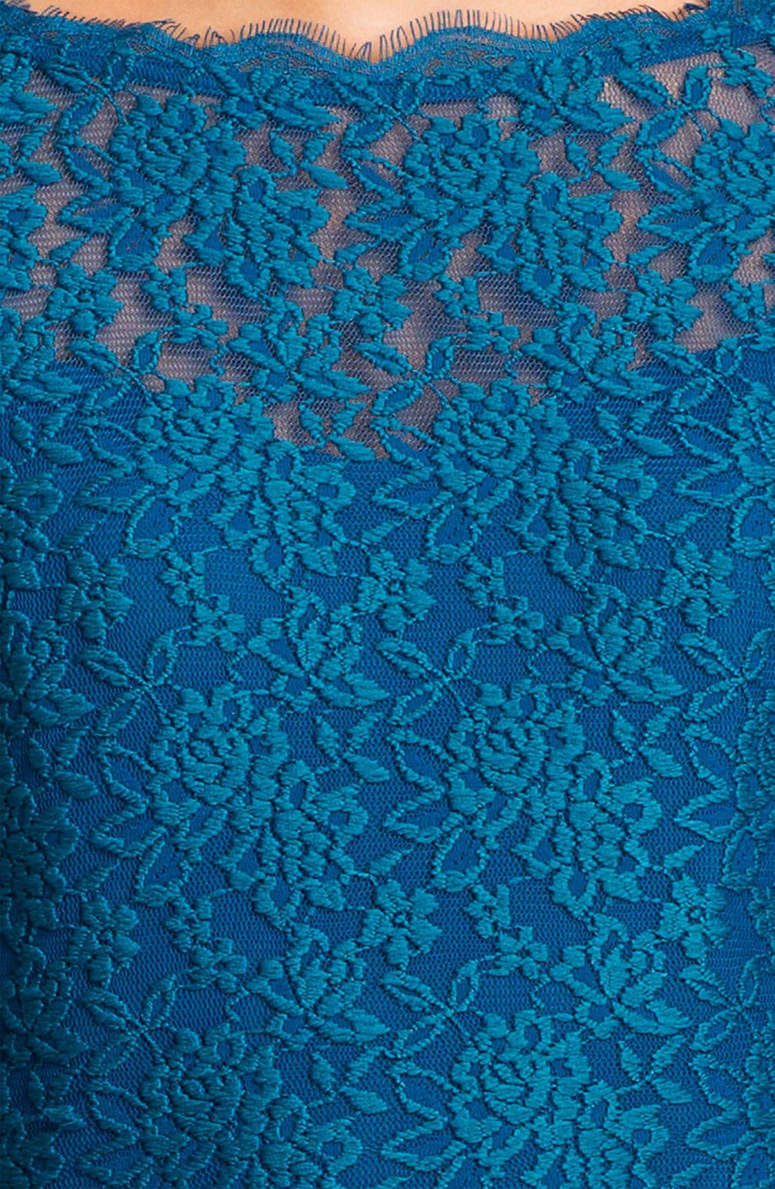 Alternate Image 3  - Adrianna Papell V-Back Lace Sheath Dress (Petite)